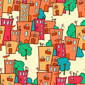Seamless pattern. colorful eco-friendly town — Stock Vector