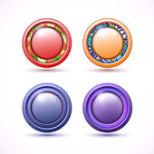Set of 4 3D buttons of different colors — Stock Vector