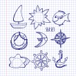 Sketch. Set of sea elements, drawing on notebook sheet — Stock Vector #42623343