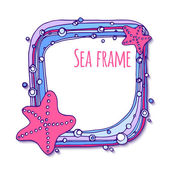Square frame with sea shells and algae — Vector de stock