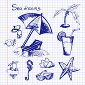 Set on holiday by the sea, on a background of notebook sheet — Vector de stock