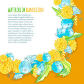 Watercolor blank of dandelions on bright background — Vector de stock