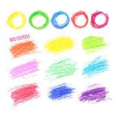 Big set of colored spots wax crayon — Stock Vector