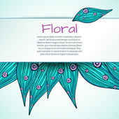 Doodle floral blank of leaves and flowers turquoise and pink  colors — Stockvektor