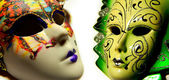 Beautiful masquerade masks isolated in collage — Foto Stock