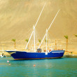 Blue boat on the water near the mountain — Stock Photo #38971365
