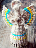 Traditionnal faceless ukrainian doll motanka with angel wings and halo — Stockfoto