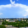 The view of Kyiv city road junction and trees over blue sky and clouds — Stock Photo #47039251