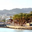Beautiful view of Eilat resorts, hotels, coast and boats — Stock Photo #47158391