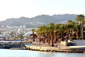 Beautiful view of Eilat resorts, hotels, coast and boats — Stock Photo
