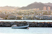 Beautiful view of Eilat resorts, hotels, coast and boats — Foto Stock