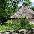 Old traditional Ukrainian house hata made from wood and straw — Stock Photo #48423863