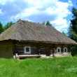Old traditional Ukrainian house hata made from wood and straw — Stock Photo #48426895