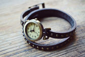 Brown handwatch with a long watchband — Stock Photo