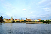 Landscape of Prague city and river Vltava — Stock Photo