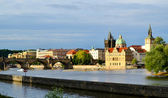 Landscape of Prague city and river Vltava — ストック写真