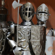 Three guardian knights in iron armors — Stock fotografie