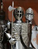 Three guardian knights in iron armors — Foto Stock