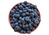 Healthy and delicious blueberries in a bowl isolated — Stock Photo