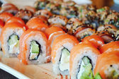 Delicious rolls and sushi with eel, salmon and philadelphia — Stock Photo