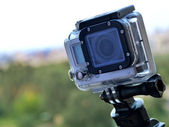 KYIV, UKRAINE - AUGUST 6, 2014: Small GoPro hero3 camera often used in extreme action video photography. — Stock Photo