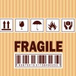 Fragile symbol on cardboard — Stock Vector