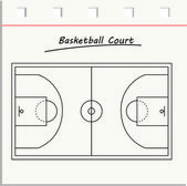 Wooden basketball court — Vettoriale Stock