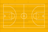 Wooden basketball court — Wektor stockowy