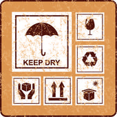 Keep dry symbol on cardboard — Stock Vector