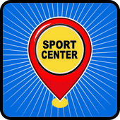 Map pointer sport center icon — Stock Vector