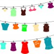 Clothes on washing line — Stock Vector #36160489