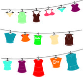 Clothes on washing line — Stock Vector