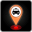 Map pointer with taxi icon. Vector illustration  — Stock Vector