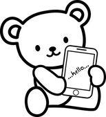 Cute bears hold phone — Stock Vector