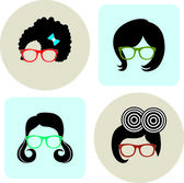 Sunglasses and hair on background — Stock Vector