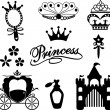 Icon princess collection — Stockvectorbeeld