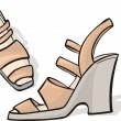 High heels cream shoes — Stock Vector