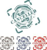 Rubber stamp with the word cancelled — Stock Vector