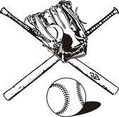 Vector set of baseball equipment — Stock Vector