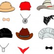 Hats Collection vector — Stok Vektör