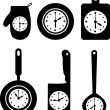 Clock icons on kitchen utensil vector illustration  — Stok Vektör