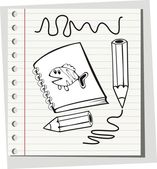 Note book with pencil. — Stock Vector
