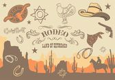 Cowboy. Wild West Western Elements, vector illustration — Stock Vector