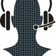 Man silhouette with headphone — Stock Vector