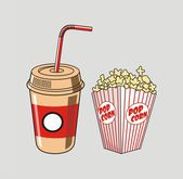 Vector illustration of soda cup, straw and popcorn — Stok Vektör