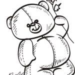 Teddy bear holding a rose — Stock Vector
