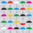Color set an umbrella on a grey background. — Stock Vector