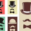 Retro Party set - bow tie, hat and mustaches — Stock Vector #36904189