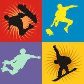 4 style skateboarders silhouettes — 图库矢量图片