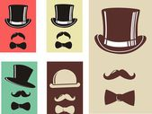 Retro Party set - bow tie, hat and mustaches — Stock Vector